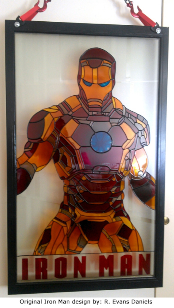 Iron Man Faux Stained Glass